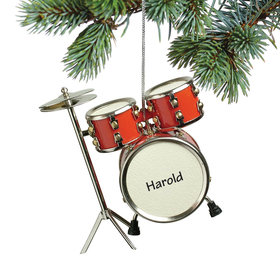 Personalized Red Drum Set Christmas Ornament