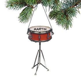 Personalized Red Snare Drum Christmas Ornament