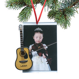 Personalized Accoustic Guitar Picture Frame Christmas Ornament