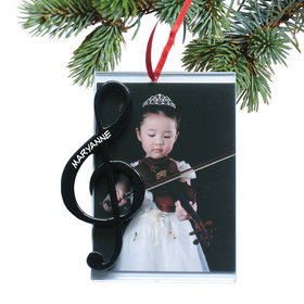 Personalized G Clef Picture Frame Christmas Ornament