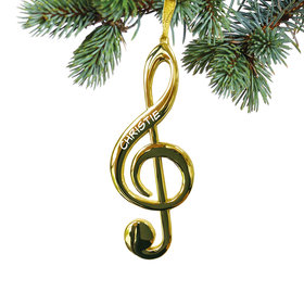 Personalized G Clef Christmas Ornament