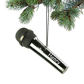 Personalized Black Microphone Christmas Ornament