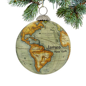 Personalized World Map Globe (Green) Christmas Ornament