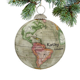 Personalized World Map Globe (Grey) Christmas Ornament