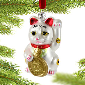 Personalized Lucky Cat Christmas Ornament