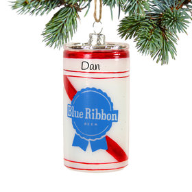 Personalized Blue Ribbon Beer Can Christmas Ornament