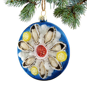 Personalized Plate of Oysters Christmas Ornament