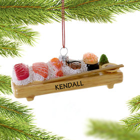 Personalized Deluxe Sushi Board Christmas Ornament