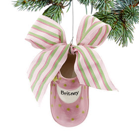 Personalized Pink Mary Jane Baby Shoe Christmas Ornament