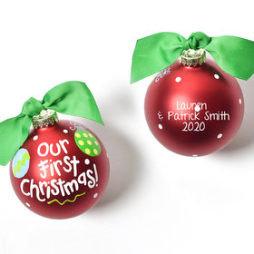 Personalized Our First Christmas Red Glass Ball Christmas Ornament