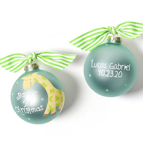 Personalized Baby's First Christmas Blue Giraffe Christmas Ornament