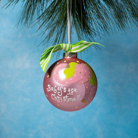 Personalized Baby's First Christmas Pink Elephant Christmas Ornament
