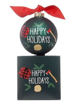 Happy Holidays Cutting Down The Tree Christmas Ornament