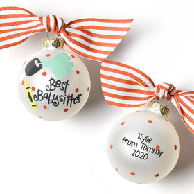 Personalized Small Size Babysitter Crayons and Keys Christmas Ornament