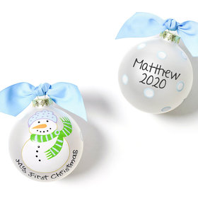 Personalized My First Christmas Snowman Boy Christmas Ornament