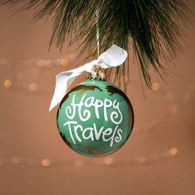 Personalized Happy Travels Christmas Ornament