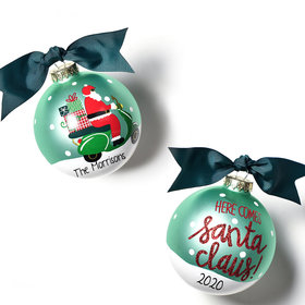 Personalized Here Comes Santa Claus Scooter Christmas Ornament