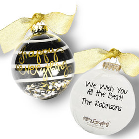 Personalized Black Stripe Happy Everything Christmas Ornament