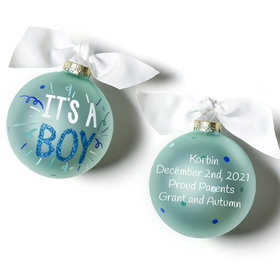 Personalized It's a Boy Popper Christmas Ornament