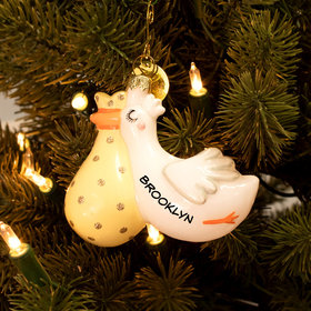 Personalized Flying Stork Christmas Ornament