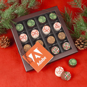Personalized Gourmet Belgian Chocolate Truffle Gift Box with Gift Tag (17 pieces) - Add Your Logo