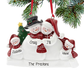 Personalized Snow Family of 4 with Tree Christmas Ornament
