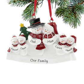 Personalized Snow Family of 6 with Tree Christmas Ornament