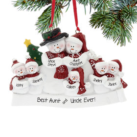 Personalized Snow Family of 7 with Tree Christmas Ornament