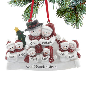 Personalized Snow Family of 8 with Tree Christmas Ornament