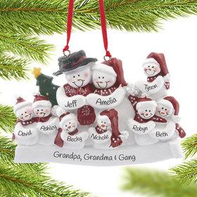 Personalized Snow Family of 9 with Tree Christmas Ornament