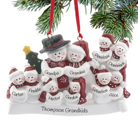 Personalized Snow Family of 10 with Tree Christmas Ornament