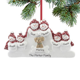 Personalized Snowman Family of 6 with Dog Christmas Ornament