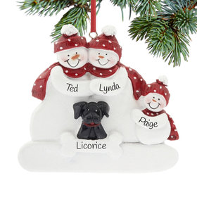 Personalized Snowman Family of 3 with Black Dog Christmas Ornament