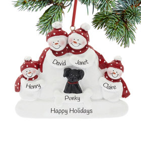 Personalized Snowman Family of 4 with Black Dog Christmas Ornament