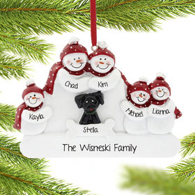 Personalized Snowman Family of 5 with Black Dog Christmas Ornament