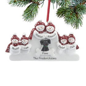 Personalized Snowman Family of 6 with Black Dog Christmas Ornament
