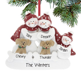 Personalized Snowman Family of 3 with 2 Dogs Christmas Ornament