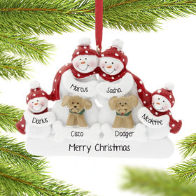 Personalized Snowman Family of 4 with 2 Dogs Christmas Ornament