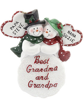 Personalized Best Grandma and Grandpa Christmas Ornament