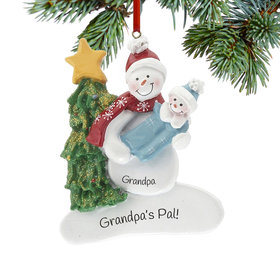 Personalized Single Snowman with Baby Boy Christmas Ornament