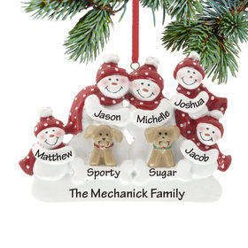 Personalized Snowman Family of 5 with 2 Dogs Christmas Ornament