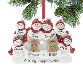 Personalized Snowman Family of 6 with 2 Dogs Christmas Ornament
