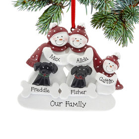 Personalized Snowman Family of 3 with 2 Black Dogs Christmas Ornament