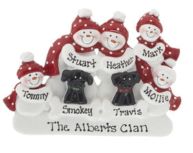 Personalized Snowman Family of 5 with 2 Black Dogs Christmas Ornament