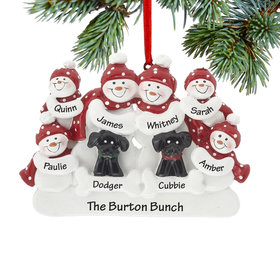 Personalized Snowman Family of 6 with 2 Black Dogs Christmas Ornament