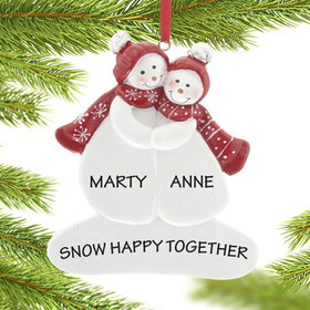 Personalized Snow Couple Wearing Hats (add 1 or 2 pets) Christmas Ornament