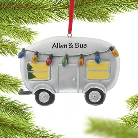 Personalized RV Trailer with Lights Christmas Ornament