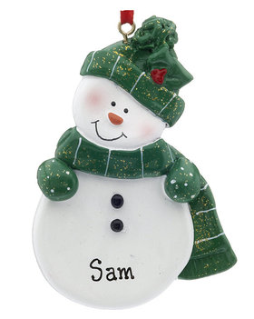Personalized Snowman with Green Scarf and Hat Christmas Ornament