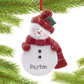Personalized Snowman with Red Scarf and Hat Christmas Ornament