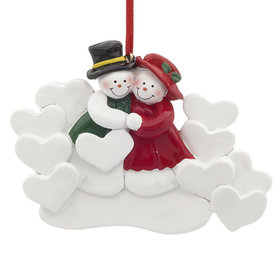 Snow Couple with 10 Hearts Christmas Ornament